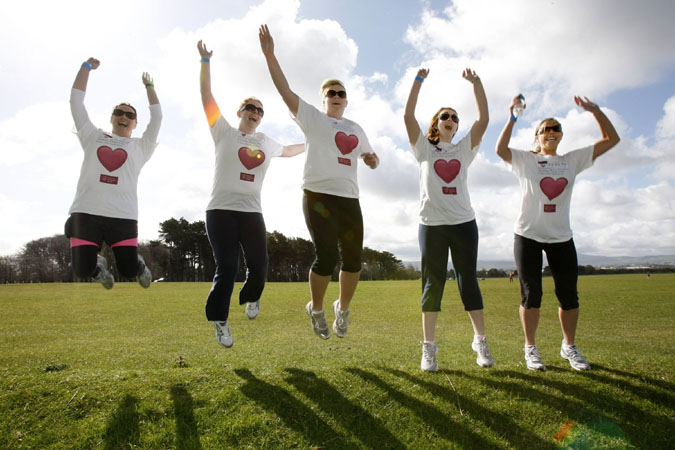 21st April 2012. NO REPRO FEE. Pictured at the Chartered Accountants Ireland Leinster Society Charity Fun Run in the Phoenix Park this morning were, from left, Emma Wall, Elaine Coffey, Jennifer Dineen, Claire Barcoe and Marian Barry, all Accountants from Mazaars. Over 1,000 Chartered Accountants and others across the island of Ireland donned their running gear over the weekend at 11 locations and braved the elements for a charity day of action.  �Cheartered Accountants Healthy Heart Day� mobilised members of Chartered Accountants Ireland, colleagues and friends to raise funds for the Irish Heart Foundation (RoI) and Northern Ireland Chest Heart & Stroke. Charity walks, runs and cycles were held in Belfast, Derry, Dungannon, Dublin (2), Cork, Limerick, Galway, Kerry and Sligo. It is the first time that Chartered Accountants Ireland, Ireland�s largest professional body of accountants has undertaken such a widespread charity initiative. The Phoenix Park Charity Day run, hosted Photography by the Leinster Society was the biggest event, at which over 400 runners and walkers participated. Pic Iain White/Iain White Photography - Press_and_pr Photography by Iain White, Photographer, Dublin 16