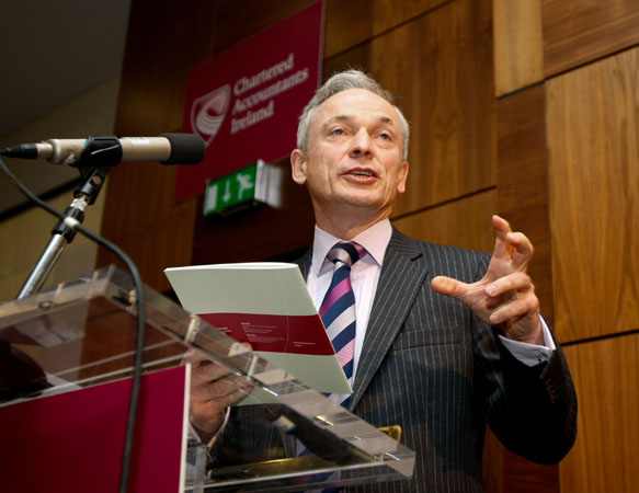 11th May 2012. NO REPRO FEE. Chartered Accountants Ireland, Ireland's largest and longest established professional body of accountants, today launched a new initiative aimed at boosting foreign direct investment (FDI) into Ireland. Pictured speaking at the launch was Minister for Jobs, Enterprise and Innovation, Richard Bruton TD - Press_and_pr Photography by Iain White, Photographer, Dublin 16