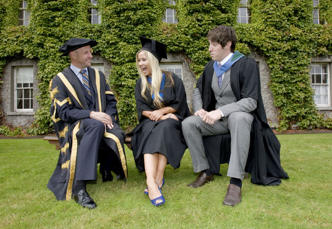 NO REPRO FEE. 7th September 2012. The First Graduates of the Higher Diploma in Primary Education at NUI Maynooth were conferred today. This is the first year that students from Froebel College of Education have been conferred with the NUI Maynooth Higher Diploma in Education. Graduates Mairead Hickey and Eoghan Breathnach are pictured talking to Professor Philip Nolan, (left) President NUI Maynooth after the ceremony. Pic Iain White - Press_and_pr Photography by Iain White, Photographer, Dublin 16