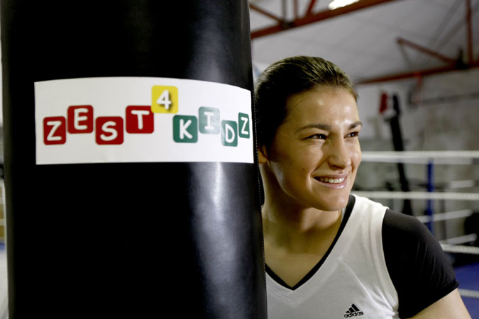 NO REPRO FEE. Monday, February 27th 2012: Zest4Kidz, an Irish-based charity helping children in desperate circumstances around the world, has today launched their �In Your Corner� campaign to highlight their Business Partners programme.  Irish World Champion Boxer, Katie Taylor joined Zest4kidz to support the launch.  Katie, who recently became an Ambassador for the charity, will also actively be involved in the �In Your Corner� campaign which offers Irish businesses, small and large, the opportunity to supportZest4kidz in their mission to ensure that every child experiences love and is empowered to fight against injustice. Katie is pictured at the launch in Bray Boxing Club. Pic Iain White/Iain White Photography - Press_and_pr Photography by Iain White, Photographer, Dublin 16